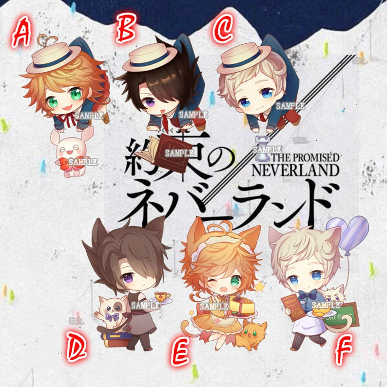 The Promised Neverland Transparent Acrylic Keychain Decoration Display  Charms Emma Norman Ray