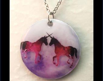 Washer Necklace/Pendant: Two Unicorns