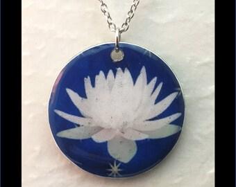 Washer Necklace/Pendant: White Lotus