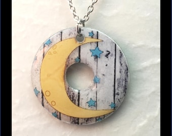 Washer Necklace/Pendant: Moon and Stars