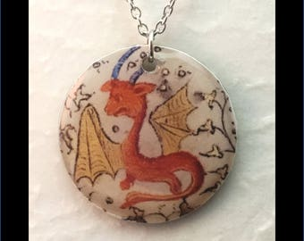 Washer Necklace/Pendant: Medieval Dragon