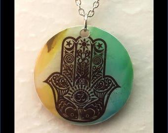 Washer Necklace/Pendant: Hamsa