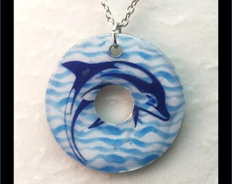 Washer Necklace/Pendant: Dolphin