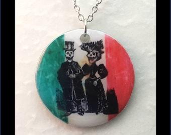Washer Necklace/Pendant: Dia de los Muertos
