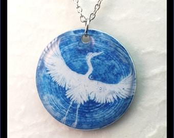 Washer Necklace/Pendant: Crane