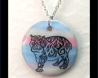 Washer Necklace/Pendant: Hippo