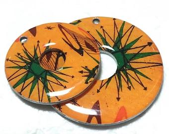 Handmade Washer Focal - Mid Century Atomic - Orange (Large and Medium sizes) pre-drilled