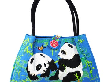 Adorable Oversized Panda Embroidered Craft Tote/Bag