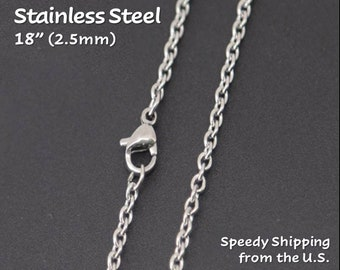 """18"""" (2.5mm) Stainless Steel Finished Necklace Chain - 18"""" Long (single/bulk). Necklace Making, Basic Chain, Necklace Supply, Simple Chain"""