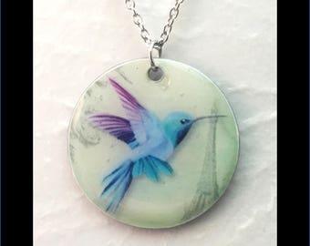 Washer Necklace/Pendant: Hummingbird