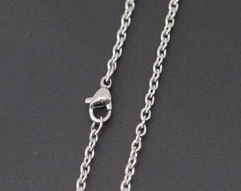 """20"""" Stainless Steel Chain - 20"""" Long x 2.4mm Wide - 1, 5, or 10 Finished Chains (single or bulk)"""