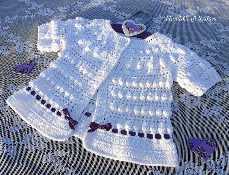 3ff11c50f25b Crochet baby jacket - white baby sweater - cotton baby cardigan -  christening jacket size 0 6 months
