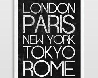5dc13b74c85 Subway Poster - Typography Print - World Cities Poster - Subway Sign - Tram  Scroll - City Print - London