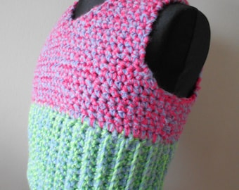 One-of-a-Kind 1970's Style Crocheted Kids Tank Top Age4-6 years