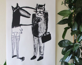 The Wolf and the Business Cat - Screen Print - Signed, Limited Edition, Mel Sheppard Print - (A2 Size)