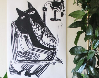 Cad Wolf- Screen Print - Signed, Limited Edition, Mel Sheppard Print - (A2 Size)