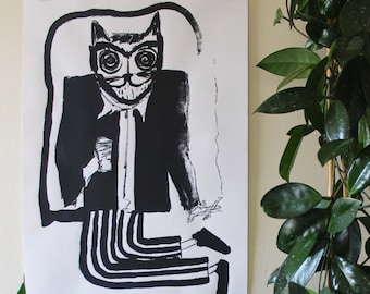 Hypnosis Cat - Screen Print - Limited Edition - Signed - Mel Sheppard Print - (A2 Size)