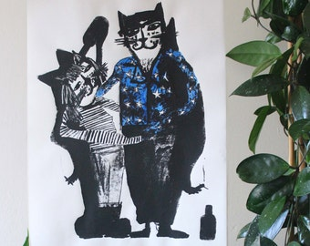 Love Cats - Screen Print - Limited Edition, Signed Mel Sheppard Print - A2 Size - Hand Inked Detail
