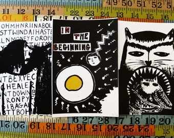 Screen Print Postcards - Pack of Three - 'In the Beginning' - Signed Limited Edition Mel Sheppard Prints