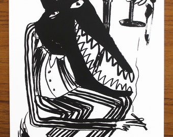 Cad Wolf / Screen Print / A4 Size / Limited Edition /  Mel Sheppard Art