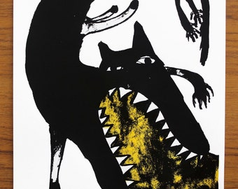 Puking Wolf / Screen Print / Limited Edition Mel Sheppard Art / A4 size in Yellow, Green and Blue