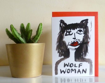 Wolf Woman / Blank Mel Sheppard Gift Card / with Red Envelope (A6 Size) / available in pack of 5