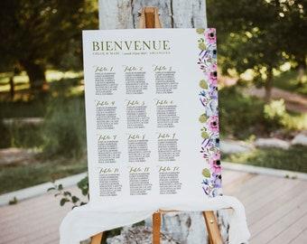 BALADE CHAMPÊTRE, Wedding Seating Chart, Greenery Wedding Seating Chart Template, Printable Wedding Seating chart, Greenery Seating Chart