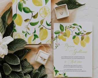 UN AMOUR de CITRON, Printable Wedding invitation, Lemon Wedding Invitation, Watercolor Wedding Invitation, Citrus Wedding invitation, Corjl