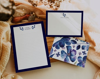 Floral personalized stationery set, Custom flat Notecards, Printable Notecards, Writing Paper, Stationery Paper Instant Download, Paper Set