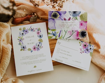 BALADE CHAMPÊTRE, Printable Wedding invitation, Greenery Wedding Invitation, Floral Wedding Invitation, Editable Wedding Template Kit, RSVP