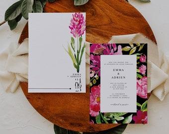 BLOOMY WILD, Printable Wedding invitation, Greenery Wedding Invitation, Modern Wedding Invitation, Floral Wedding invitation, Watercolor