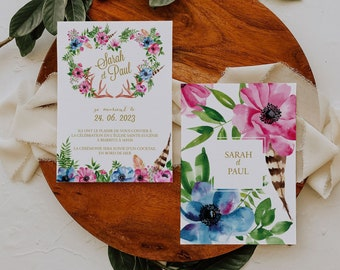 BOHOWILD, Printable Wedding invitation, Greenery Wedding Invitation, Rustic Wedding Invitation, Bohemian Wedding invitation, Editable invite