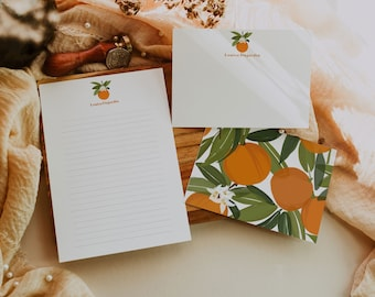 Citrus personalized stationery set, Custom flat Notecards, Printable Notecards, Writing Paper, Stationery Paper Set, Citrus Illustration