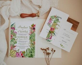 SUCCULENTES, Printable Wedding invitation, Bohemian Wedding Stationery Bundle, Greenery Wedding Invitation, Succulent wedding invitation