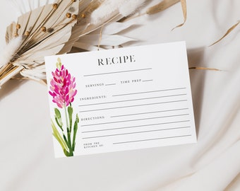 BLOOMY WILD, Printable Recipe Cards, Recipe Card Template, Bridal Shower Recipe Card, Floral Recipe Cards, Watercolor, Instant Download