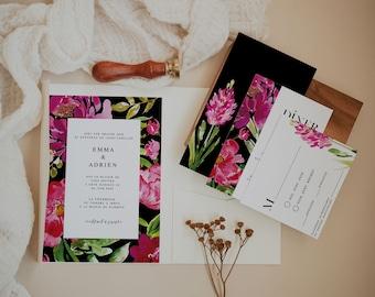 BLOOMY WILD, Printable Wedding invitation, Floral Wedding Stationery Bundle, Greenery Wedding Invitation, Modern Editable Wedding Template
