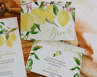UN AMOUR de CITRON, Brunch Invitation, Brunch Invitation template, Brunch Invite editable, Lemon Wedding, Lemon Brunch Wedding Invite