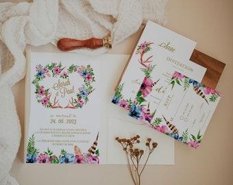 BOHOWILD, Printable Wedding invitation, Bohemian Wedding Stationery Bundle, Greenery Wedding Invitation, Rustic wedding invitation, Template