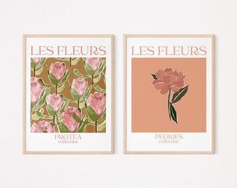 Art Print Les Fleurs set of 2, Peonies Illustration, Protea Illustration, Floral Poster, Gallery wall, Les Fleurs Print, Art Print Download