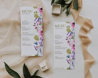 BALADE CHAMPÊTRE, Wedding Menu Template, Printable Wedding Menu, Editable Menu Card, Greenery Wedding Menu, Floral Wedding, Greenery Wedding