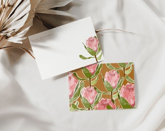 Floral personalized stationery set, Custom flat Notecards, Printable Notecards, Writing Paper, Stationery Paper Set, Protea Illustration
