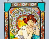 Alphonse Mucha - Topaz. Stained glass and printing on Canvas
