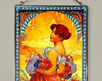 Alphonse Mucha. Summer.Stained glass.