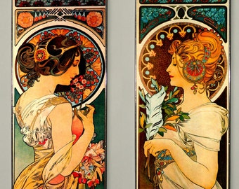 2x Alphonse Mucha - Primrose and Feather,  Art Nouveau, Stained glass and printing on Canvas.(Price for both)