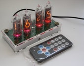 Nixie tube clock include IN-14 tubes and case old school combined with handmade retro decor art Vintage Table Clock