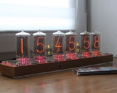 Nixie tube clock || with BIG RTF tubes Z566M || remote control temperature and enclosure handmade wooden housing || wood plywood