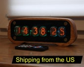 Nixie tube clock with IN-12 tubes and case, fully assembled, alarm, remote control, shipping from US