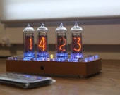 Nixie tube clock with IN-14 tubes and case old school combined modern, wooden case with different covers, vintage desk clock