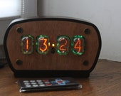 Nixie tube clock with 4pcs IN-12 nixie tubes and case fully assembled, handmade wooden clock wall alarm steampunk vintage desk industrial