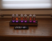 Nixie tube clock || include IN-14 tubes and wooden case with acrylic cover || old school combined with handmade retro decor art